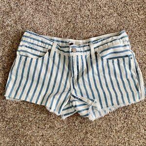 Levi white and blue denim mini shorts